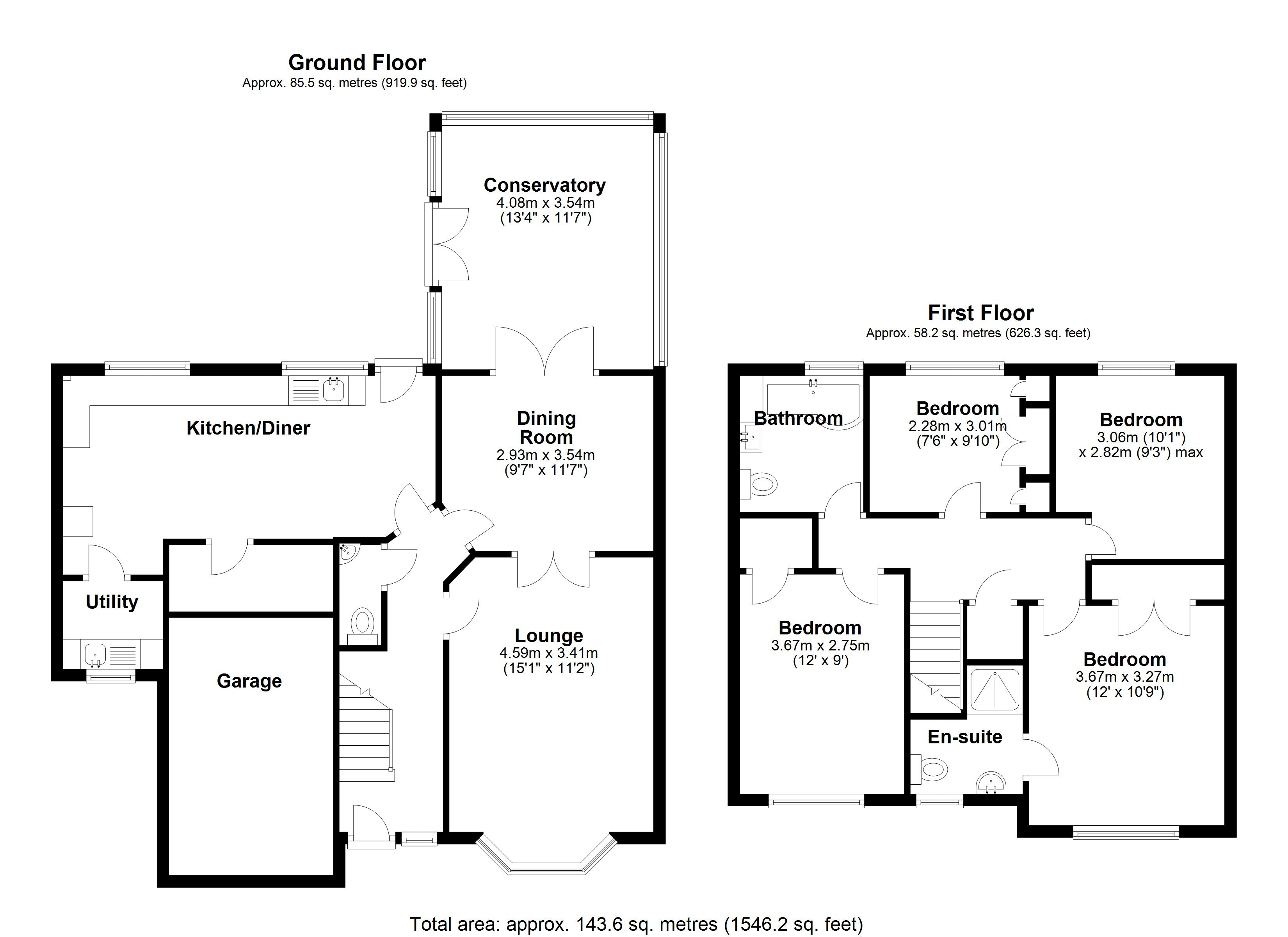 Floorplan for Huntley Drive, Solihull