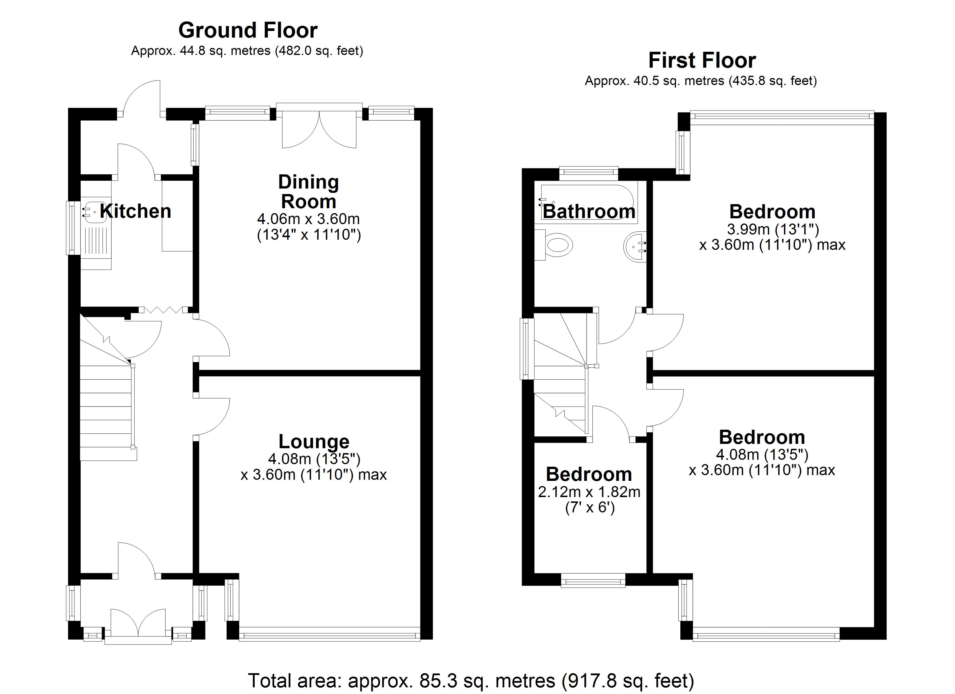 Floorplan for Pierce Avenue, Solihull