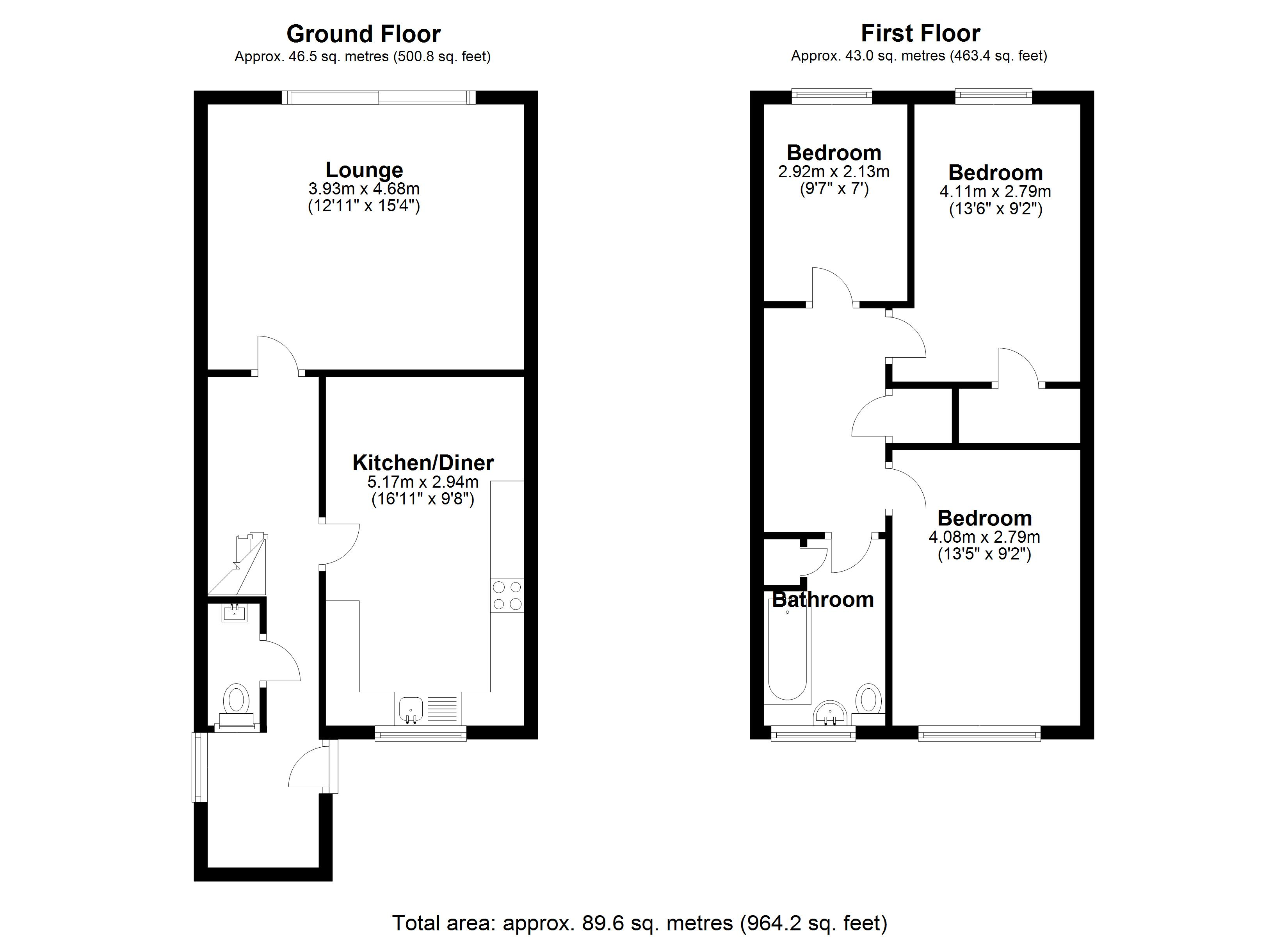 Floorplan for Roach Close, Birmingham